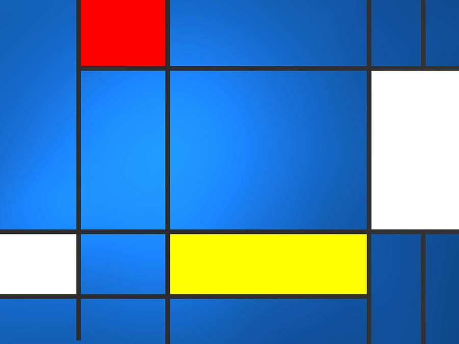Geometric Composition Over Blue Backlight Digital Art