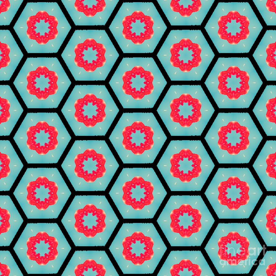 Geometric in Teal and Red by Tracy Ruckman
