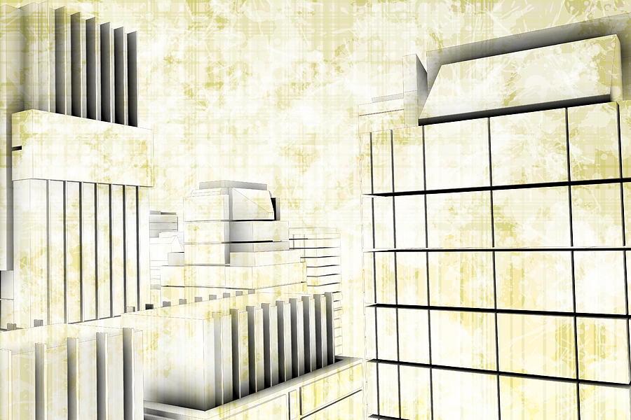 Geometric Perspective City Digital Art