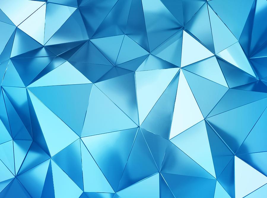 Geometric Three Dimensional Metal Blue Background Photograph