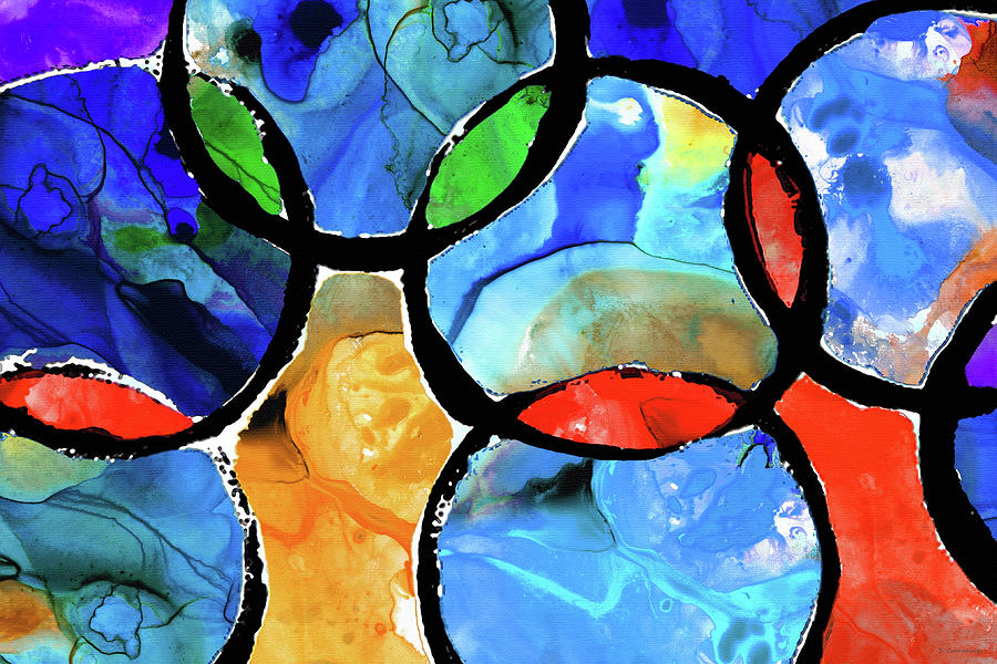 Primary Colors Painting - Geometrical Art - Colorful Celebration - Sharon Cummings by Sharon Cummings