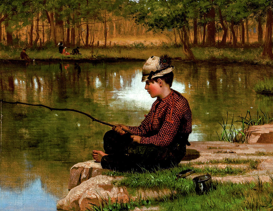 George Brown  Waiting For A Bite, Central Park, Circa 1886 Digital Art