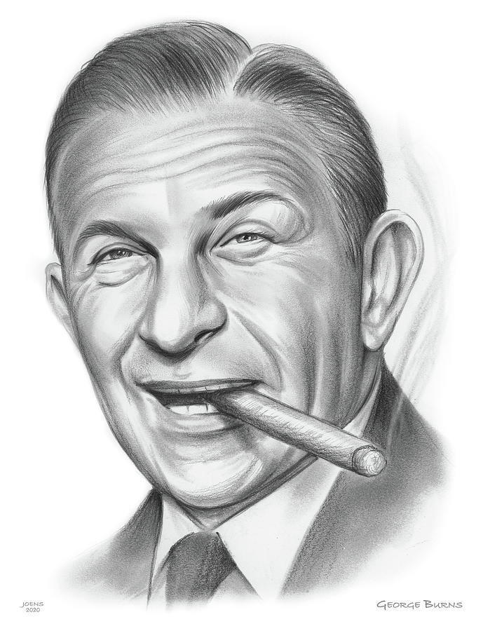 George Burns Drawing - George Burns - Pencil by Greg Joens