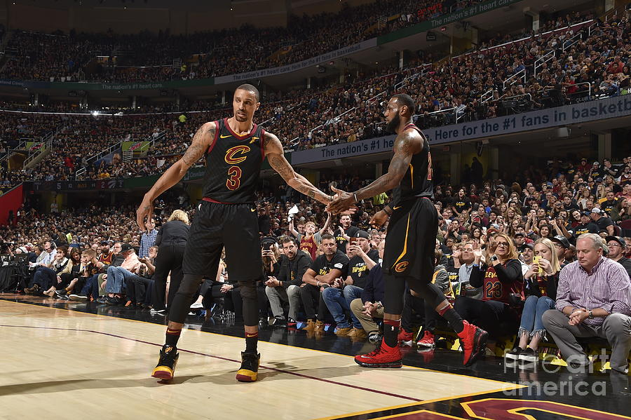 George Hill and Lebron James Photograph by Jeff Haynes