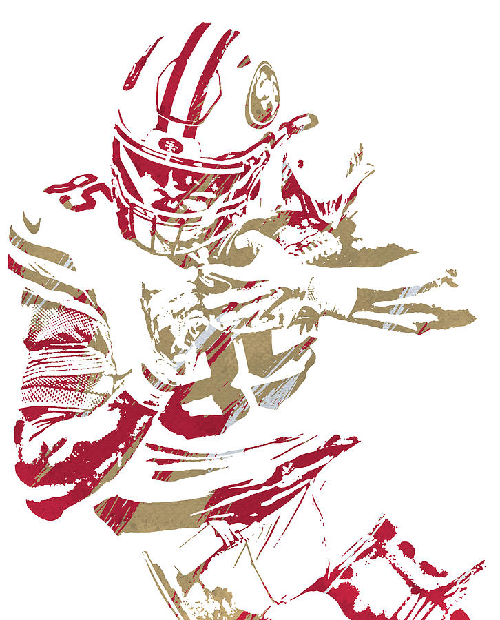 GEORGE KITTLE SAN FRANCISCO 49ERS WATERCOLOR STROKES PIXEL ART 1 by Joe Hamilton