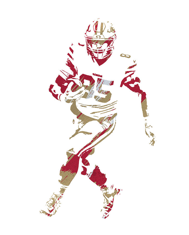 GEORGE KITTLE SAN FRANCISCO 49ERS WATERCOLOR STROKES PIXEL ART 2 by Joe Hamilton