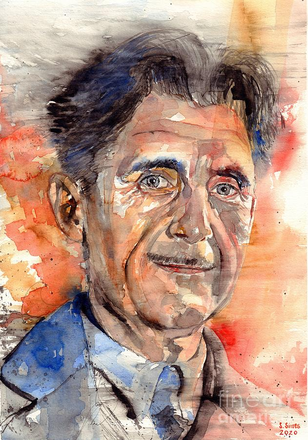Watercolour Painting - George Orwell Portrait by Suzann Sines