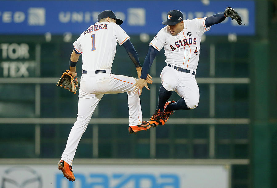 George Springer and Carlos Correa Photograph by Bob Levey