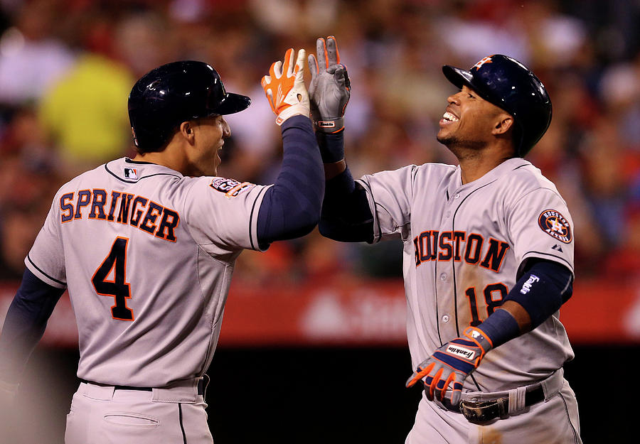 George Springer and Luis Valbuena Photograph by Stephen Dunn
