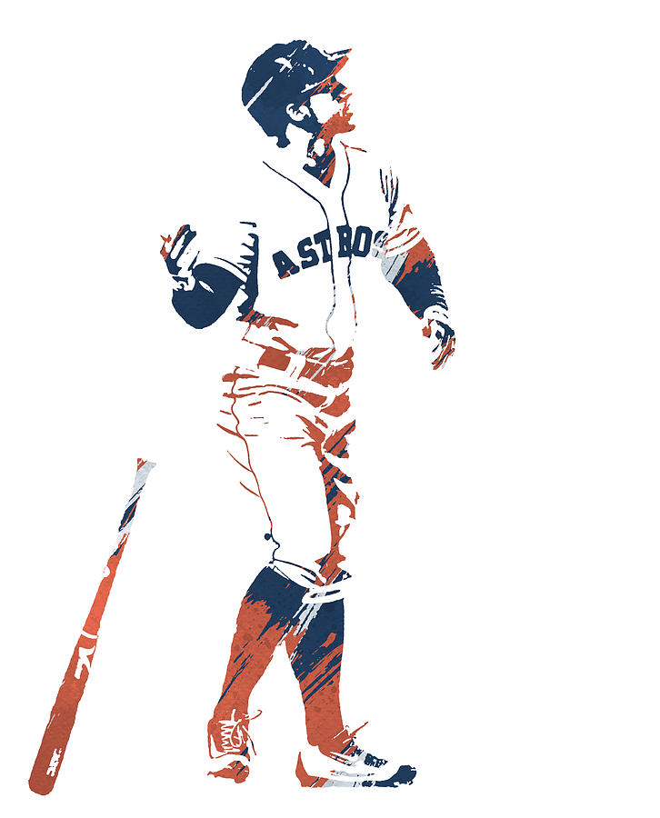 GEORGE SPRINGER HOUSTON ASTROS WATERCOLOR STROKES PIXEL ART 1 by Joe Hamilton