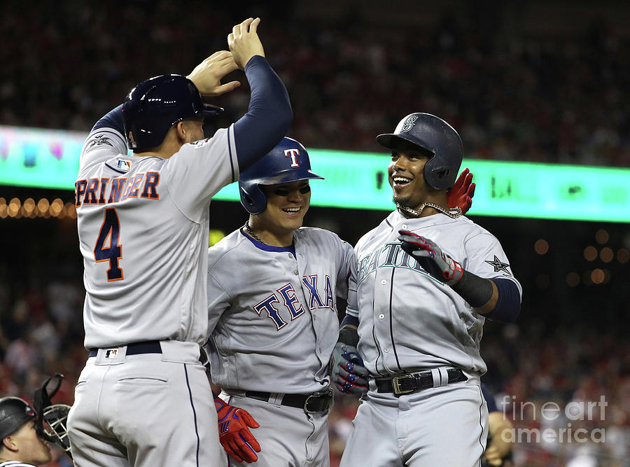 George Springer, Jean Segura, and Shin-soo Choo Photograph by Patrick Smith