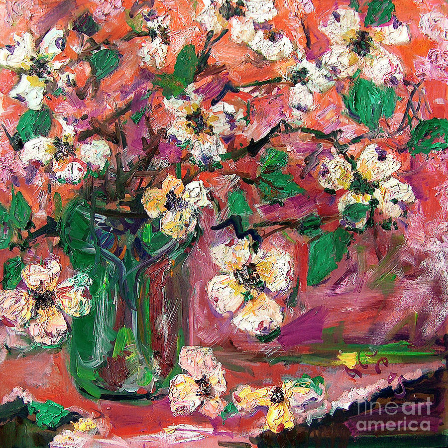 Georgia Dogwood Flowers Still Life Oil Painting Painting by Ginette Callaway