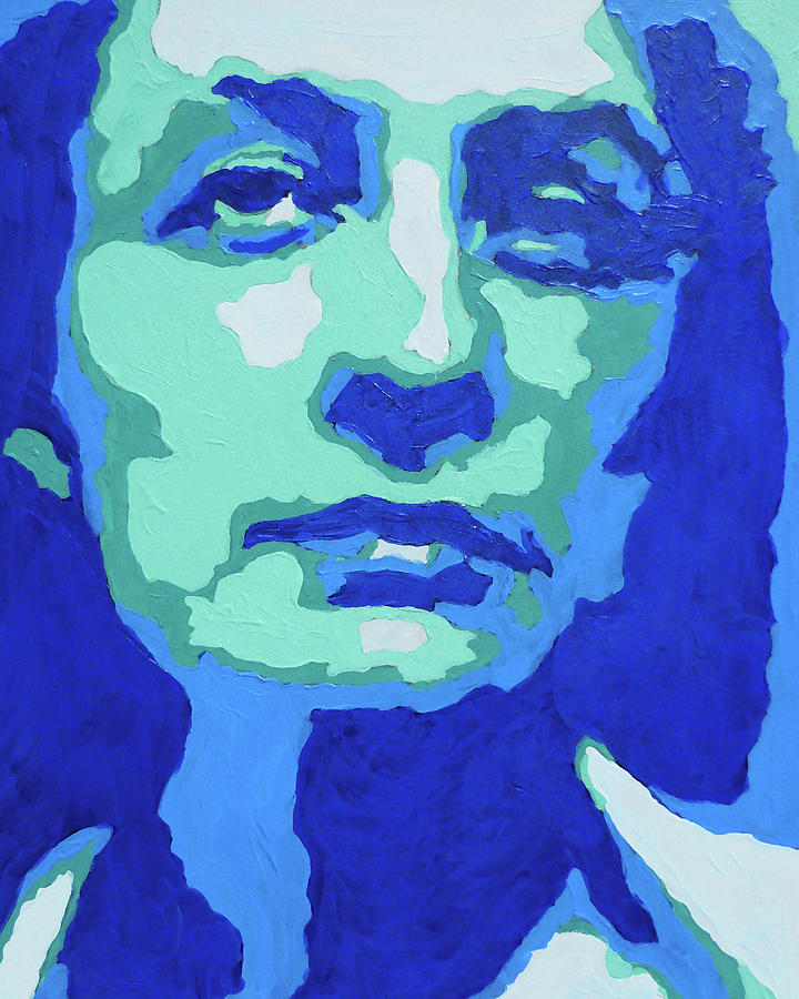 Georgia O Keeffe Portrait In Teal And Ultramarine Blue Painting