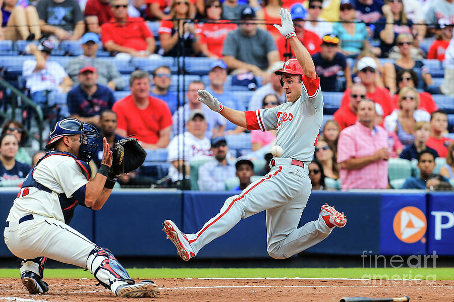 Gerald Laird and Chase Utley Photograph by Daniel Shirey