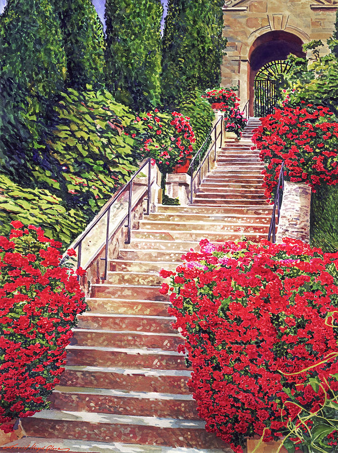 Geranium Filled Staircase Painting