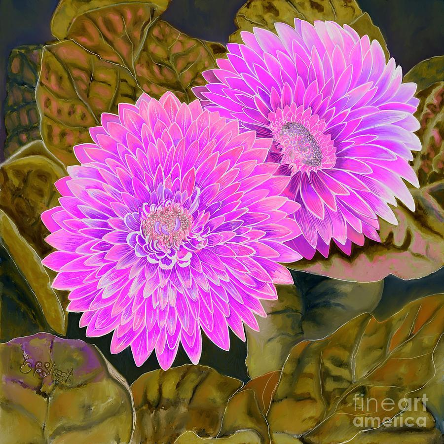 Gerbera Daisy. Pink On Brown Digital Art