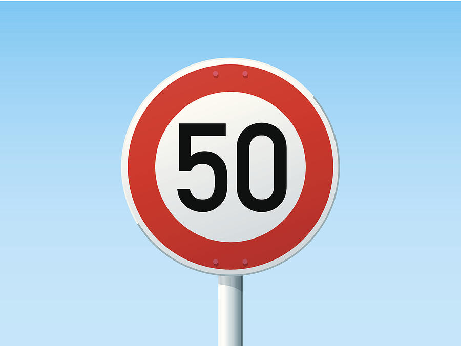German Road Sign Speed Limit 50 kmh Drawing by FrankRamspott