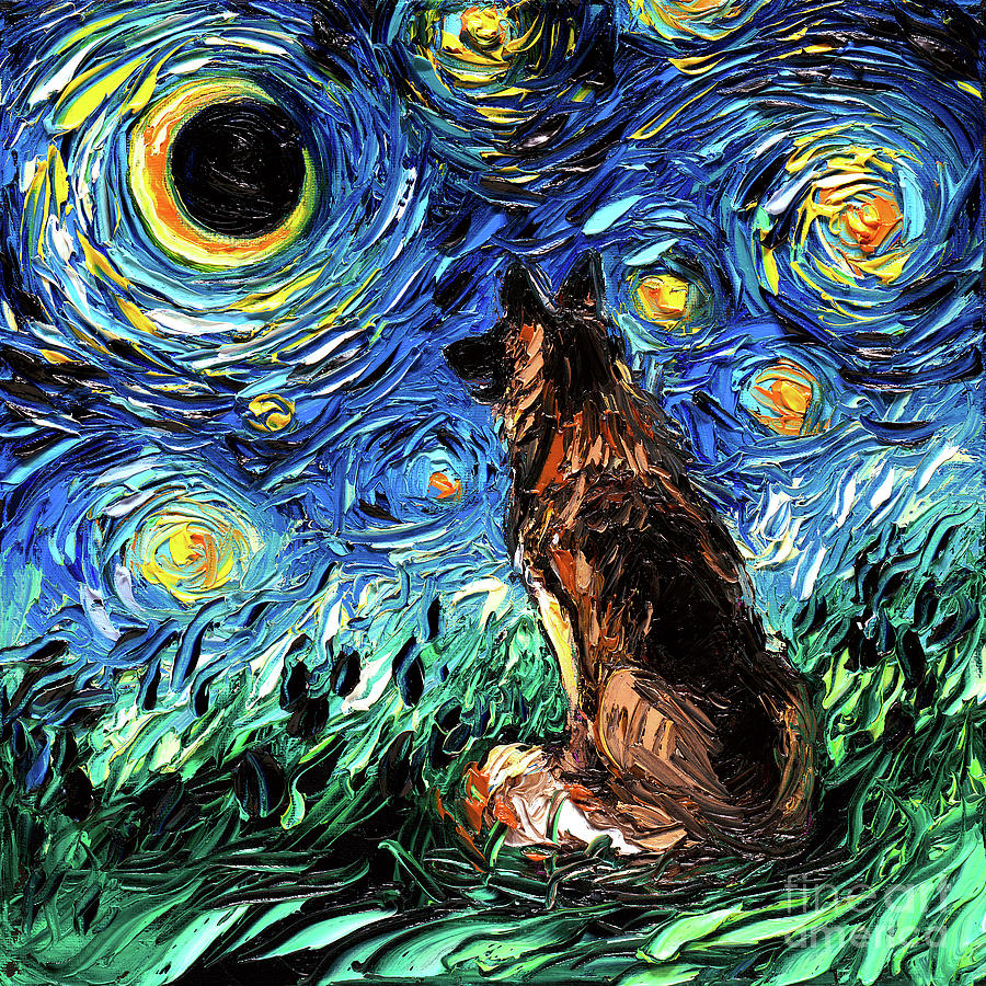 German Shepherd Painting - German Shepherd Night by Aja Trier