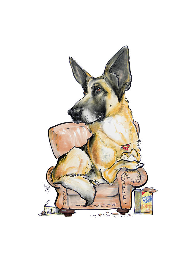 German Shepherd On A Chair Drawing