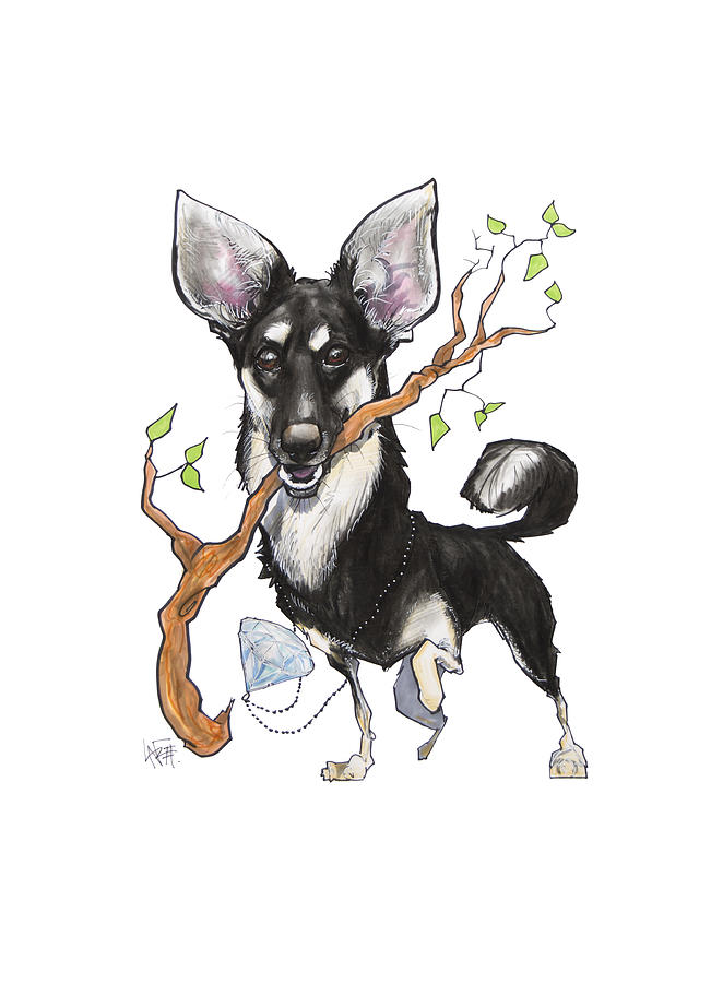 German Shepherd Mix With A Branch Drawing