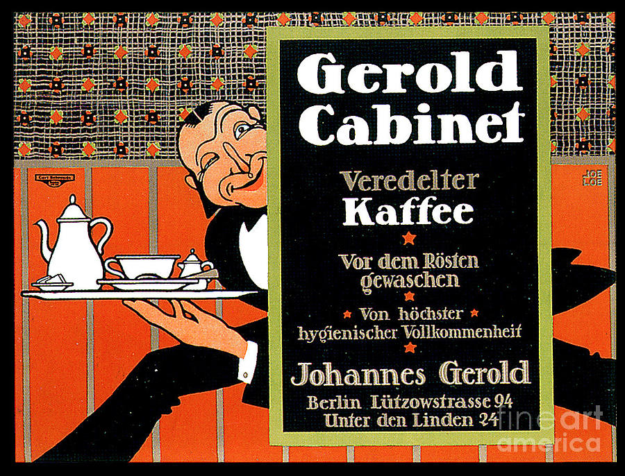 Gerold Cabinet Refined Coffee Advertisement Card Painting