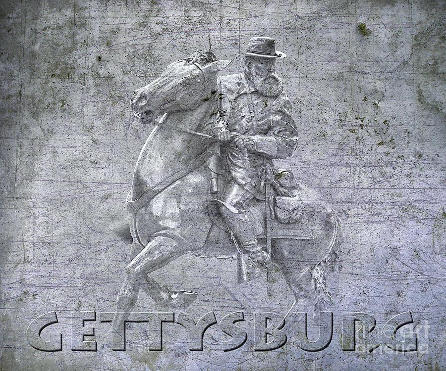 Gettysburg Longstreet Monument On Metal Digital Art