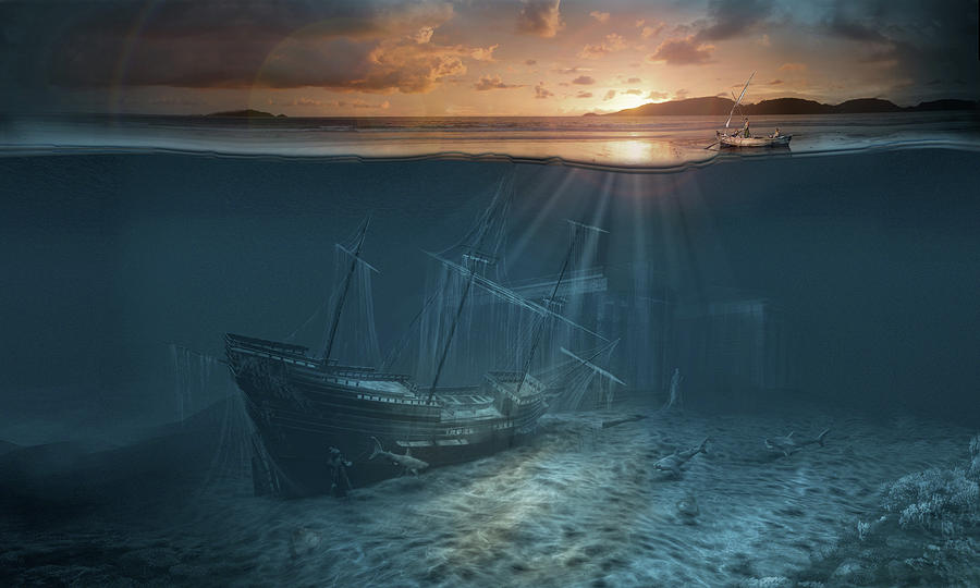 Ghost ship series Pirate shipwreck by George Grie
