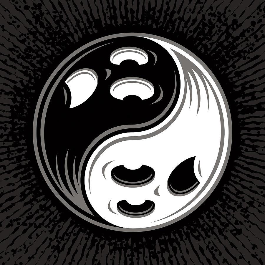 Ghost Yin Yang Black And White Digital Art