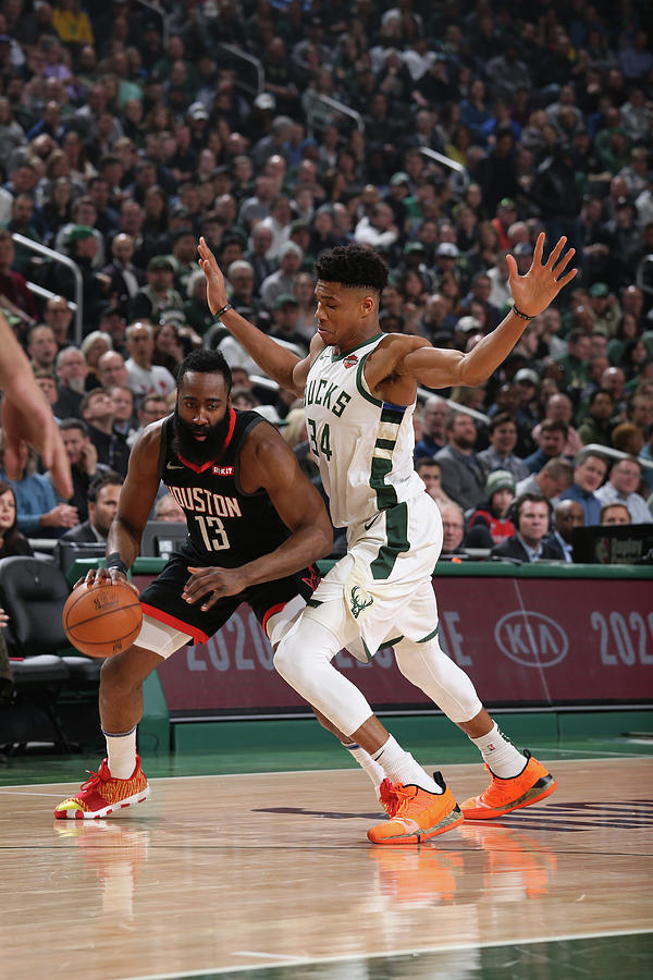 Giannis Antetokounmpo and James Harden Photograph by Gary Dineen