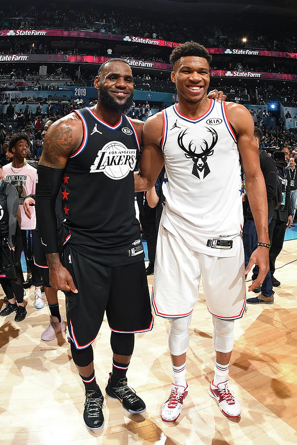 Giannis Antetokounmpo and Lebron James Photograph by Andrew D. Bernstein