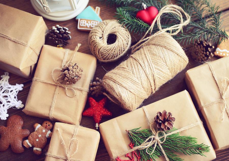 Gift Box On A Wooden Background Photograph by Elenaleonova