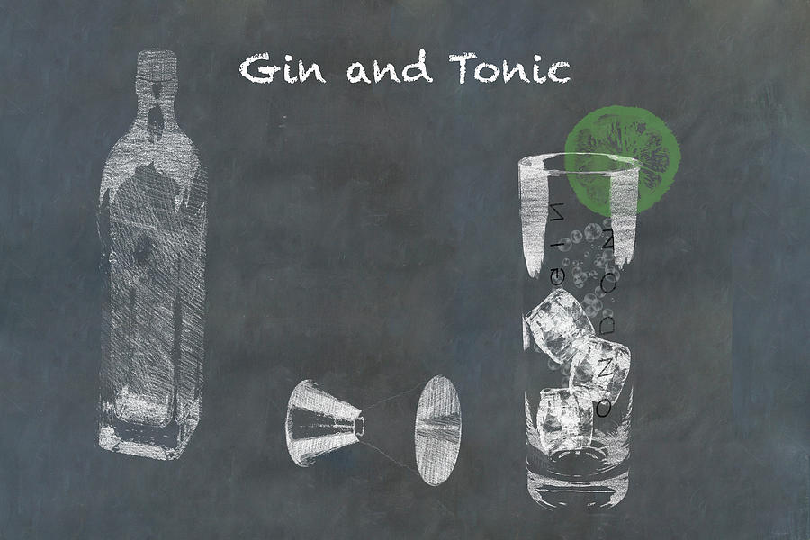 Gin And Tonic Cocktail Sketched On Chalkboard Photograph