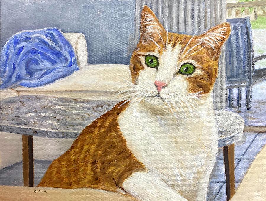 Ginger and White Tabby Cat Painting by Karen Zuk Rosenblatt