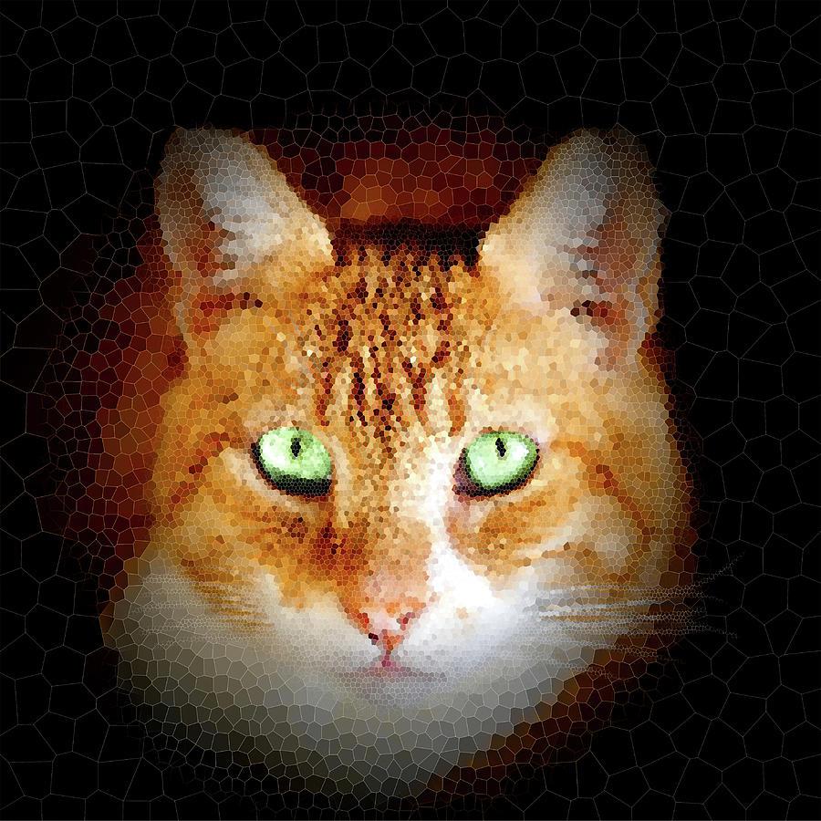 Ginger Cat Portrait Mosaic Digital Art