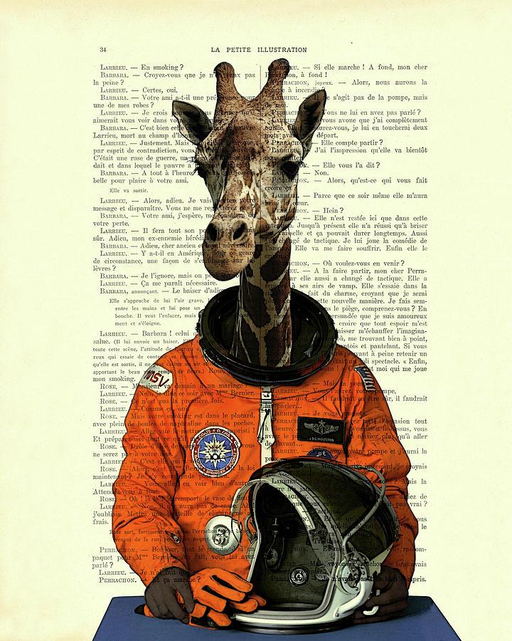 Giraffe Digital Art - Giraffe astronaut, fantasy animal art by Madame Memento