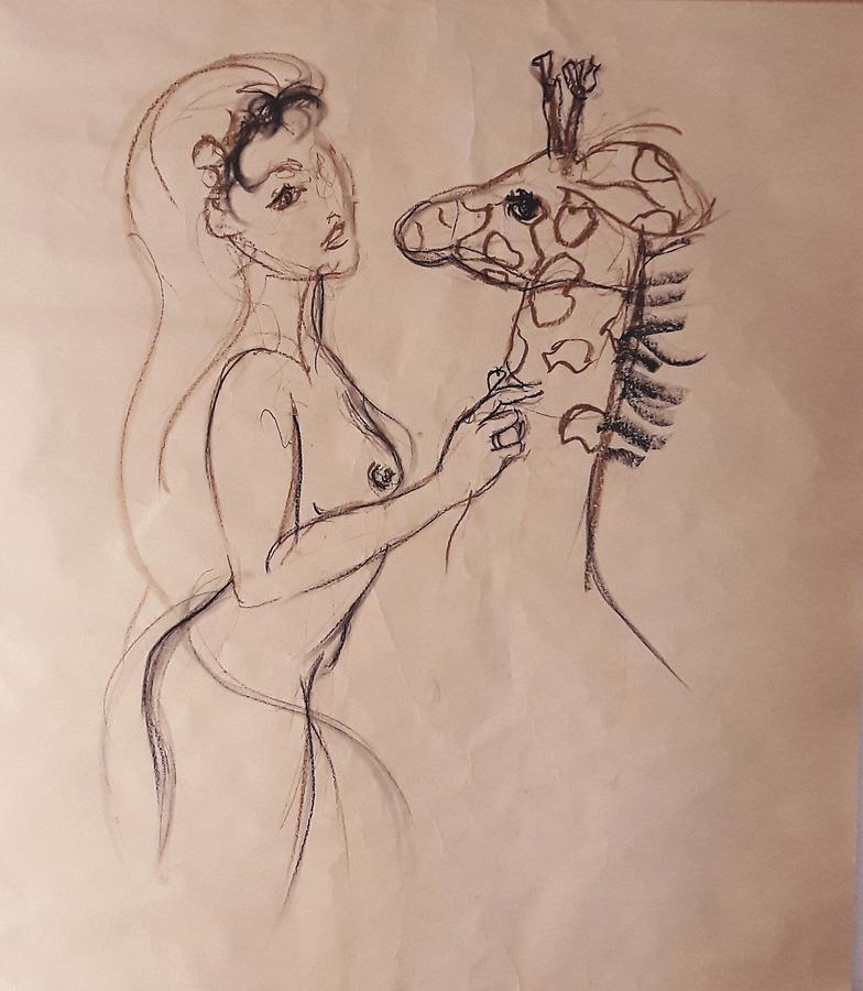 Drawing Drawing - Giraffe Loves 1 by Lala Randela