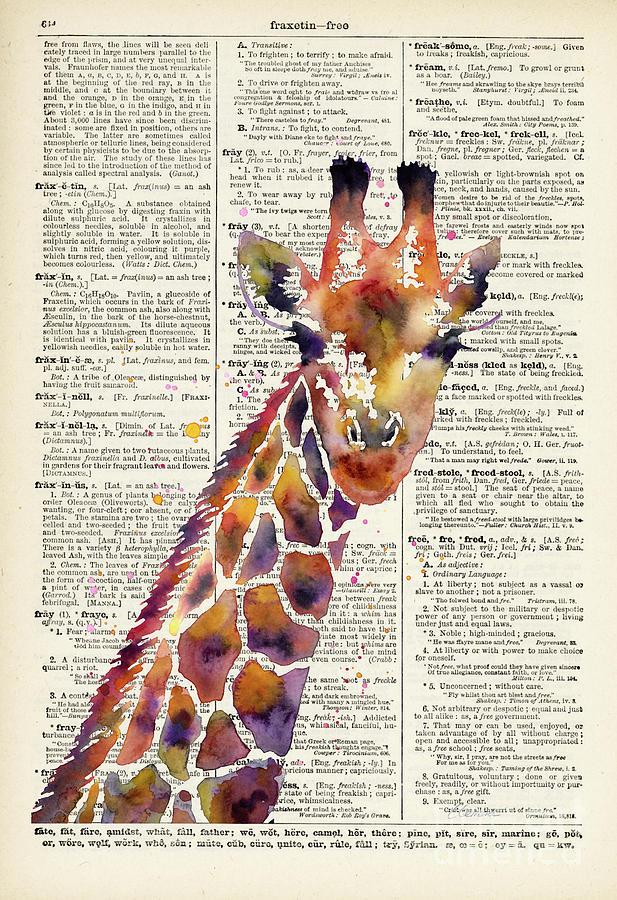 Giraffe On Vintage Dictionary Painting
