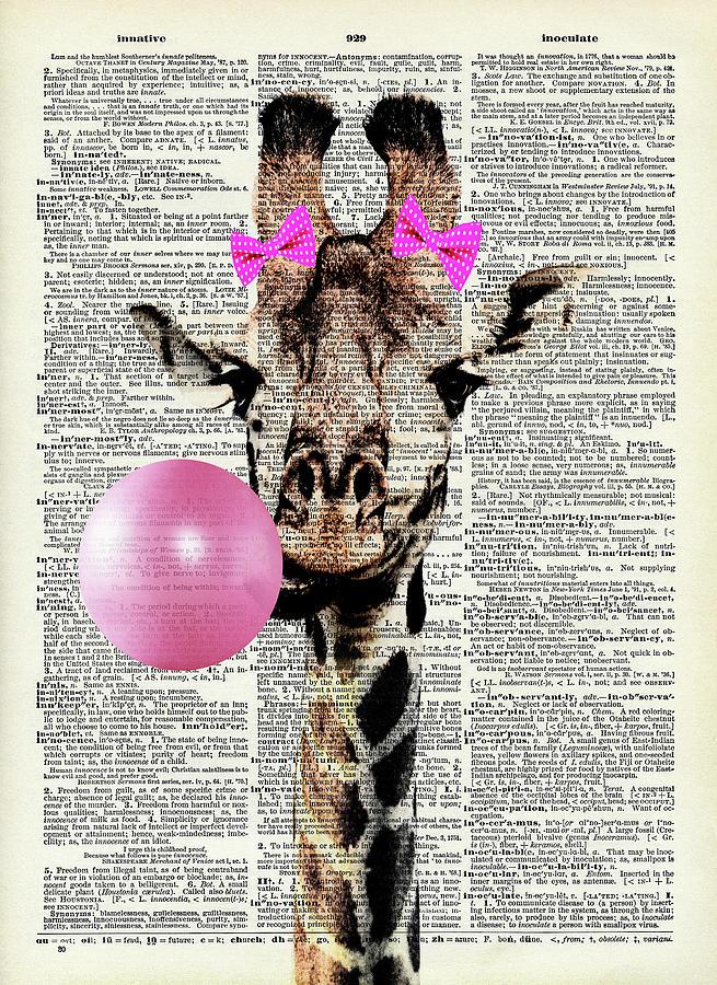Giraffe With Pink Bubble Gum Digital Art