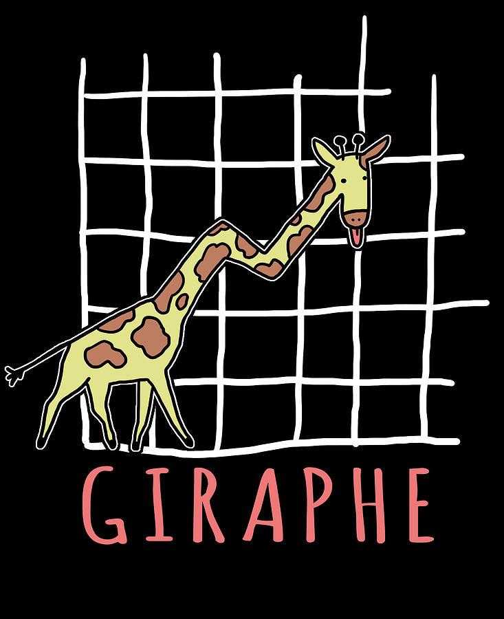 Mathematical Digital Art - Giraphe Funny Giraffe Math Graph Pun by Jacob Zelazny