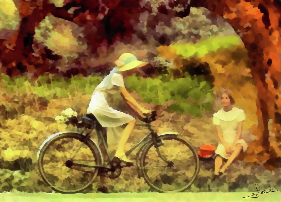Portrait Painting - Girl And Bicycle 3 by George Rossidis