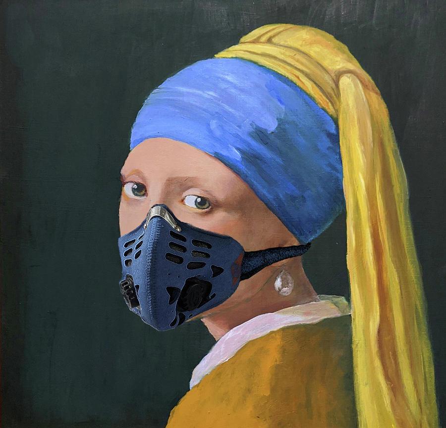 Girl With A Pearl Earring Digital Art - Girl in a Blue Mask by David McGhee