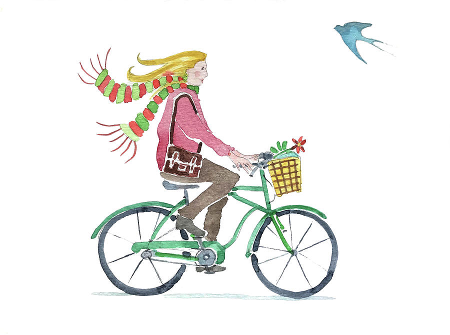 Girl On A Bike With A Bird Painting