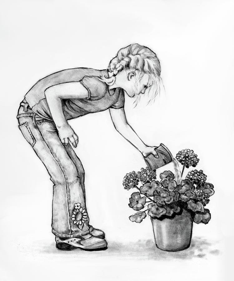 Girl Watering Geraniums Drawing