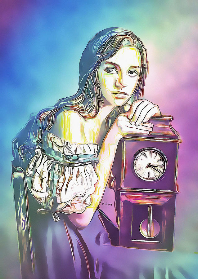 Girl With Old Clock Painting