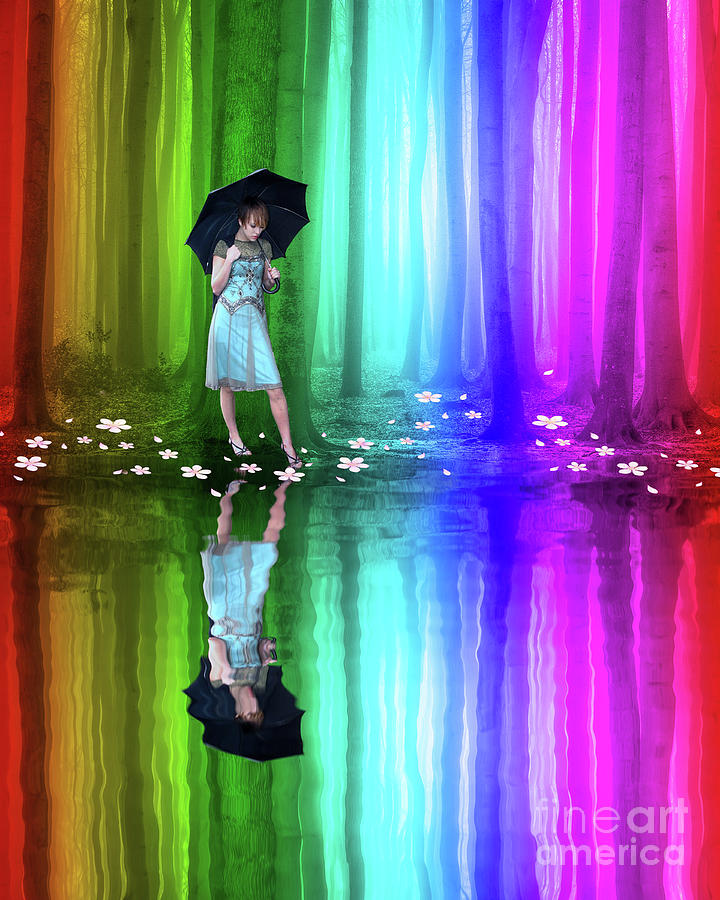 Girl with Umbrella in a Rainbow Forest by Juli Scalzi