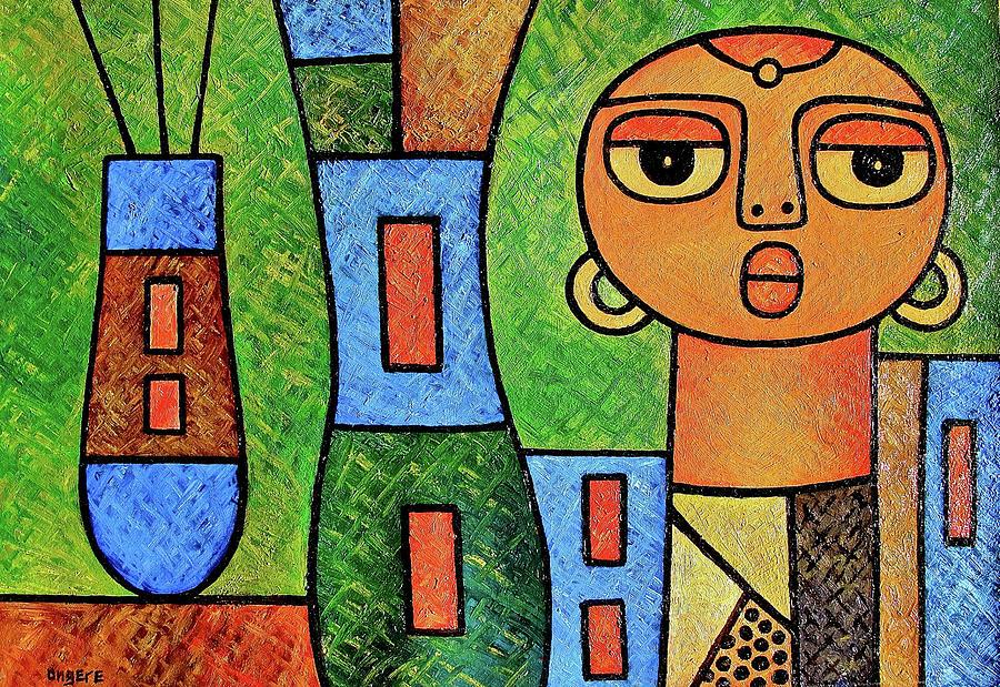 Girl with Vases by Elisha Ongere
