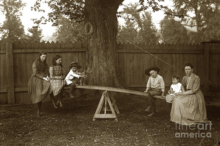 Girls and Boys on at teeter totter Circa 1905 by California Views Archives Mr Pat Hathaway Archives