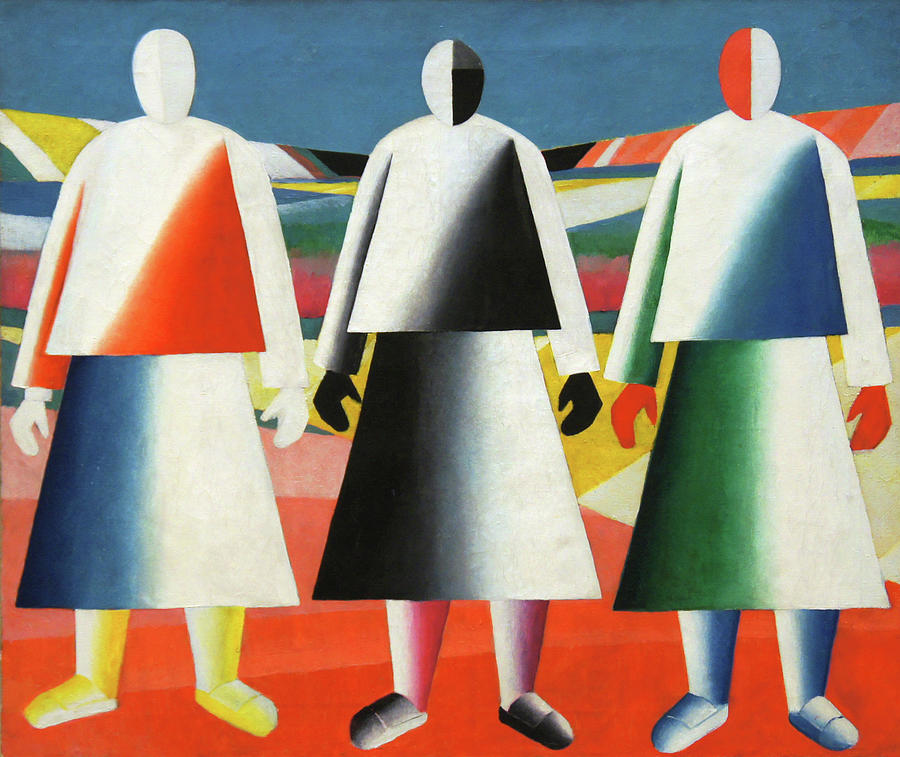 Kazimir Malevich Painting - Girls in a Field by Kazimir Malevich