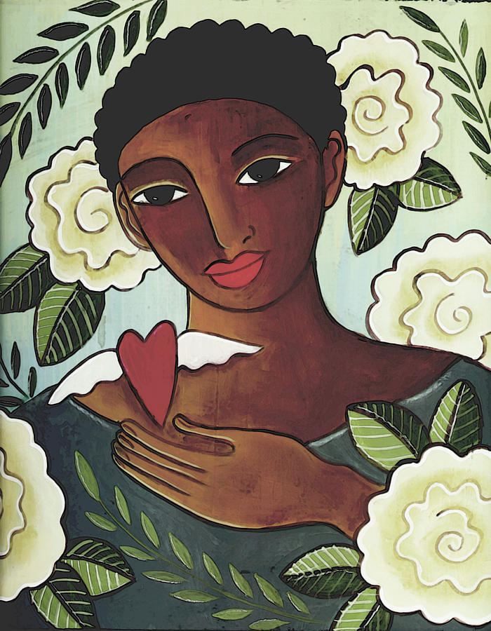 African American Mixed Media - Giving Love by Elaine Jackson