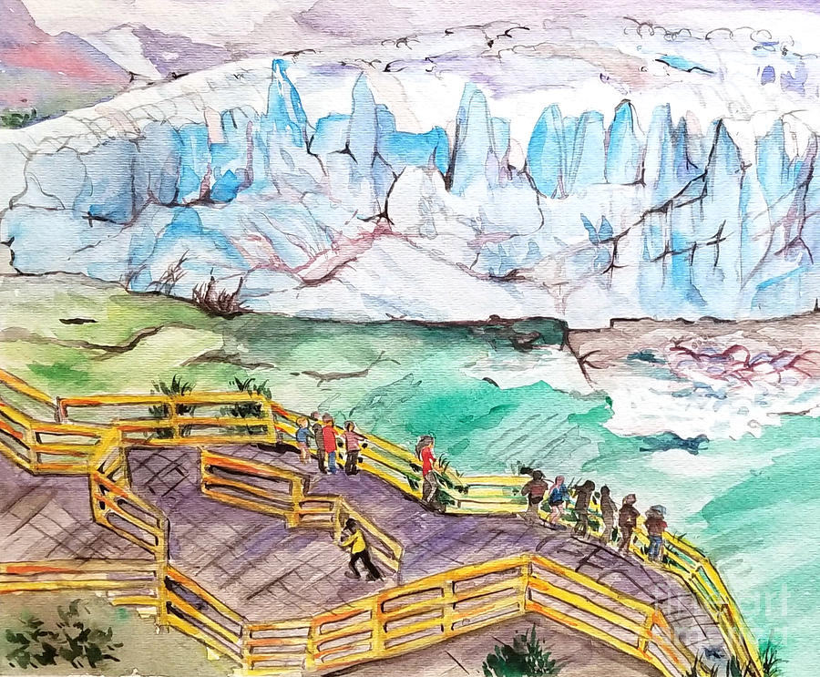 Watercolor Painting - Glaciers  by AQQ Studio